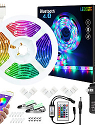 cheap -ZDM 7.5M Music Sync Colour Changing RGB LED Strip Lights 24-Key Remote Sensitive Built-in Mic Bluetooth App Controlled LED Lights 5050 RGB LED Light Strip Kit DC12V