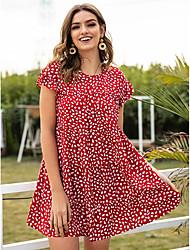 cheap -Women's A-Line Dress Short Mini Dress - Short Sleeve Polka Dot Print Summer Casual 2020 Red S M L XL