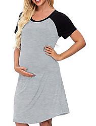 cheap -Women's T Shirt Dress Knee Length Dress - Short Sleeves Color Block Summer Casual 2020 Black Red S M L XL