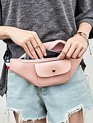 cheap -Women's Zipper PU Leather Fanny Pack 2020 Solid Color Red / Blushing Pink / Light Gray