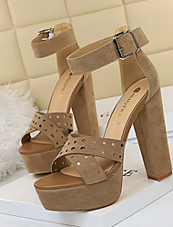 cheap -Women's Heels / Sandals Summer Pumps Peep Toe Daily PU Black / Khaki