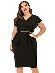 cheap -Women's Plus Size Sheath Dress Knee Length Dress - Short Sleeves Solid Color Summer V Neck Casual Vintage 2020 Black L XL XXL XXXL XXXXL