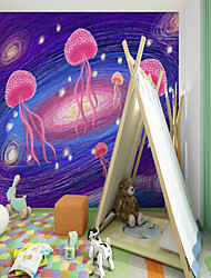 cheap -Art Deco   Home Decoration Modern Wall Covering  Custom Self Adhesive Mural Wallpaper Purple Jellyfish Children Cartoon Style Suitable For Bedroom