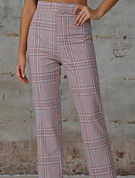 cheap -Women's Basic Daily Work Slim Dress Pants Pants - Striped Classic Comfort Blushing Pink XS / S / L