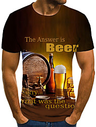 cheap -Men's Plus Size Graphic Beer Pleated Print T-shirt Street chic Exaggerated Daily Going out Round Neck Yellow / Summer / Short Sleeve