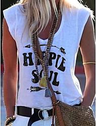 halpa -Naisten Kirjain T-paita V kaula-aukko Päivittäin Kesä Valkoinen S M L XL 2XL 3XL