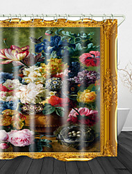 cheap -Oil Painting Beautiful Flowers Digital Print Waterproof Fabric Shower Curtain for Bathroom Home Decor Covered Bathtub Curtains Liner Includes with Hooks