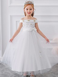 cheap -Princess / Ball Gown Floor Length Wedding / Party Flower Girl Dresses - Tulle Short Sleeve Off Shoulder with Sash / Ribbon / Bow(s) / Appliques