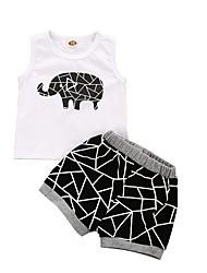 Недорогие -малыш Мальчики Классический С принтом С короткими рукавами Обычный Набор одежды Белый