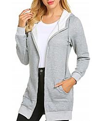 cheap -Women's Zip Up Hoodie Sweatshirt Solid Colored Basic Hoodies Sweatshirts  Black Light gray