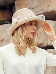 cheap -Headwear Elegant Natural Fiber Hats with Floral 1pc Casual / Daily Wear Headpiece