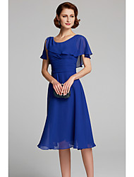 cheap -A-Line Mother of the Bride Dress Cowl Neck Knee Length Chiffon Short Sleeve with Ruffles 2020