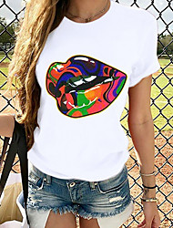 billiga -Dam Blast Grafisk T-shirt - Tryck Rund hals Grundläggande Dagligen Vår Sommar Vit XS S M L XL 2XL 3XL 4XL