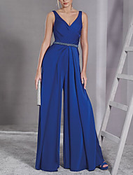 cheap -Jumpsuits Minimalist Elegant Wedding Guest Prom Dress V Neck Sleeveless Floor Length Chiffon with Sash / Ribbon 2021