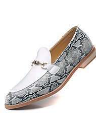 cheap -Men's Spring / Summer Classic / Casual Daily Office & Career Loafers & Slip-Ons Nappa Leather Breathable Non-slipping Height-increasing Black / Gray Leopard