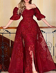 cheap -A-Line Sparkle Elegant Engagement Formal Evening Dress Off Shoulder Half Sleeve Floor Length Lace Tulle with Beading Sequin Split 2021