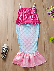 cheap -Kids Girls' Active Cute The Little Mermaid Animal Lace up Sleeveless Maxi Dress Blushing Pink
