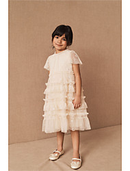 cheap -A-Line Tea Length Wedding / Party Flower Girl Dresses - Tulle Cap Sleeve Jewel Neck with Tier / Solid