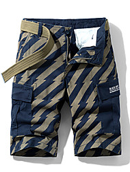 cheap -Men's Basic Daily Slim Cotton Shorts Tactical Cargo Pants - Striped Print Breathable Summer Blue Red Yellow US34 / UK34 / EU42 / US36 / UK36 / EU44 / US40 / UK40 / EU48