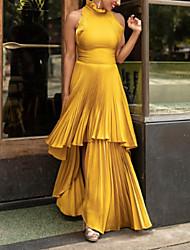 cheap -Sheath / Column Maxi Elegant Party Wear Prom Dress High Neck Sleeveless Floor Length Satin with Pleats Ruffles Tier 2021