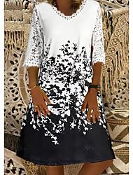 cheap -Women's A-Line Dress Knee Length Dress - Half Sleeve Floral Summer Casual Mumu 2020 White S M L XL XXL XXXL