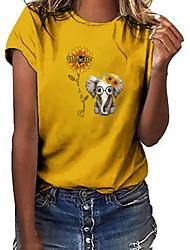 halpa -Naisten Geometrinen T-paita Pyöreä kaula-aukko Päivittäin Kesä Viini Valkoinen Musta Uima-allas Keltainen Armeijan vihreä S M XL 2XL 3XL