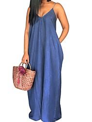 cheap -Women's A-Line Dress Maxi long Dress - Sleeveless Solid Color Summer V Neck Casual Loose 2020 Blue Navy Blue M L XL XXL 3XL