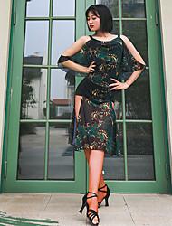 cheap -Latin Dance Dress Pattern / Print Split Joint Women's Training Performance Mesh Ice Silk