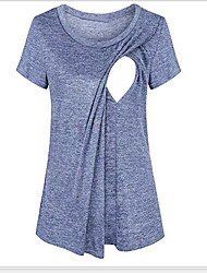 cheap -Women's T-shirt Solid Colored Tops Round Neck Daily Summer Black Blue Red S M L XL 2XL