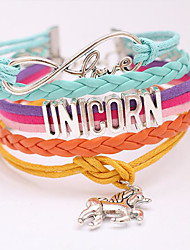 cheap -Women's Wrap Bracelet Stacking Stackable Horse Love Trendy Sweet Alloy Bracelet Jewelry Purple / Blushing Pink / Rainbow For Gift Prom Date Birthday Festival