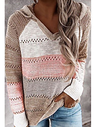 cheap -Women's Striped Long Sleeve Pullover Sweater Jumper, V Neck Blushing Pink S / M / L