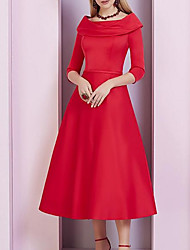 cheap -A-Line Mother of the Bride Dress Elegant Cowl Neck Ankle Length Satin 3/4 Length Sleeve with Sash / Ribbon 2021