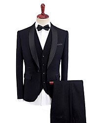 cheap -Black / Blue / Burgundy Solid Colored Standard Fit Polyester Suit - Shawl Collar Single Breasted One-button / Suits