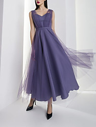 cheap -A-Line Elegant Vintage Engagement Formal Evening Dress Sweetheart Neckline Sleeveless Ankle Length Tulle with Pleats 2020