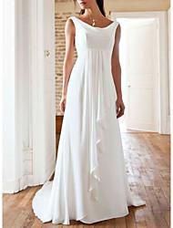 cheap -A-Line Wedding Dresses Jewel Neck Sweep / Brush Train Chiffon Sleeveless Beach with Pleats 2021