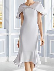 cheap -Sheath / Column Mother of the Bride Dress Elegant Jewel Neck Tea Length Satin Short Sleeve with Pleats Ruffles 2020
