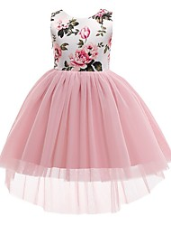 cheap -Princess / Ball Gown Asymmetrical Wedding / Party Flower Girl Dresses - Tulle / Mikado Sleeveless Jewel Neck with Bow(s) / Pattern / Print