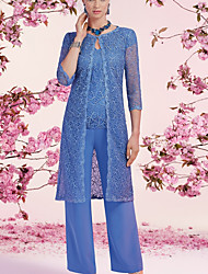 cheap -Jumpsuits Mother of the Bride Dress Elegant V Neck Floor Length Chiffon Lace 3/4 Length Sleeve with Sequin 2021