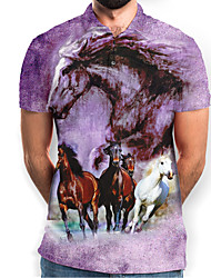 cheap -Men's Graphic Animal Horse Print Polo Basic Daily Purple