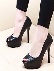 cheap -Women's Heels Summer Stiletto Heel Peep Toe Daily PU Black