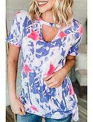 halpa -Naisten Kukka T-paita Pyöreä kaula-aukko Päivittäin Kesä Viini Uima-allas Purppura Apila S M L XL 2XL 3XL