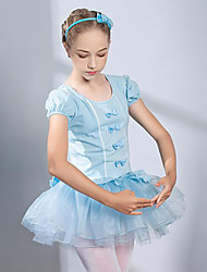 cheap -Ballet Dress Lace Bow(s) Ruching Girls' Training Performance Short Sleeve High Spandex Lace Tulle