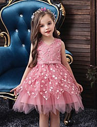 cheap -Princess / Ball Gown Mini Wedding / Party Flower Girl Dresses - Tulle Sleeveless V Neck with Sash / Ribbon / Bow(s) / Appliques