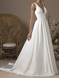 cheap -A-Line Wedding Dresses V Neck Sweep / Brush Train Satin Sleeveless Formal with Pleats 2021