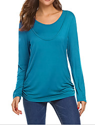 cheap -Women's Blouse Maternity Solid Colored Tops Round Neck Daily Fall Winter Blue Army Green S M L XL 2XL