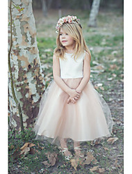 cheap -Princess / A-Line Knee Length Wedding / Party Flower Girl Dresses - Satin / Tulle Sleeveless Jewel Neck with Tier / Solid