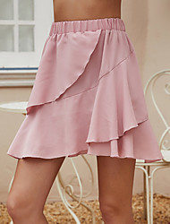 cheap -Women's Basic A Line Skirts - Solid Colored Layered Blushing Pink S M L