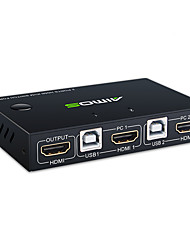 cheap -AIMOS KVM HDMI Switch USB Switch 4K HDMI Switcher Box 2 In 1 Out For 2 Computers Share Keyboard And Mouse Support 4K@30Hz 3D for Laptop PC PS4 Xbox HDTV (With 2 USB Cable 1 HDMI Cable)