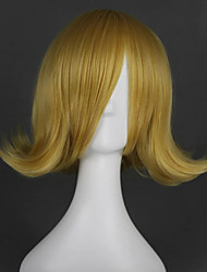 cheap -Cosplay Wig Lin Vocaloid Curly Cosplay Asymmetrical Wig Short Blonde Synthetic Hair 16 inch Women's Anime Cosplay New Design Blonde