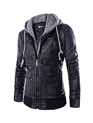 cheap -Men's Fall Winter Jacket Daily Punk & Gothic Hooded Regular Solid Colored Long Sleeve Faux Leather Black M / L / XL / Slim